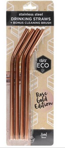 Ever Eco Rose Gold Straws Bent - 4Pack+ Brush