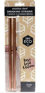 Ever Eco Rose Gold Straws Bent - 2Pack+ Brush