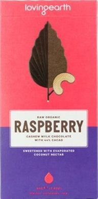 Loving Earth Raspberry Cashew Mylk Chocolate 44% Raw Cacao 80g