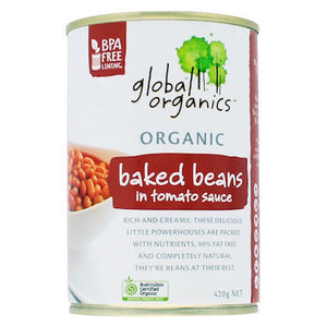 Global Organics Baked Beans in Tomato Sauce (BPA Free Can) 400g