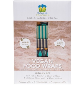 The Family Hub Organics Vegan Food Wraps - Kitchen Set 4 Pack