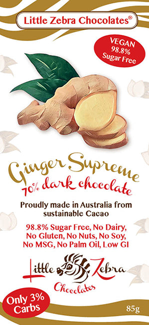 Little Zebra Chocolates - Ginger Supreme Dark Chocolate - 85g