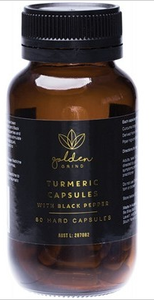 Golden Grind Turmeric Capsules with Black Pepper (60 Caps)