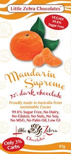 Little Zebra Chocolates - Mandarin Supreme Dark Chocolate - 85g