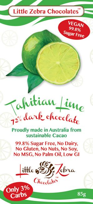 Little Zebra Chocolates - Tahitian Lime Supreme Dark Chocolate - 85g