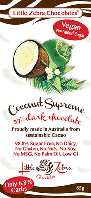 Little Zebra Chocolates - Coconut Supreme Dark Chocolate - 85g