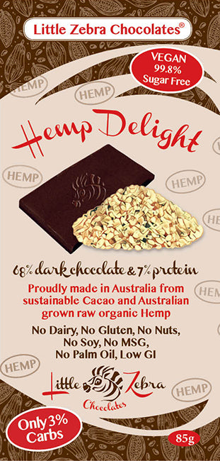Little Zebra Chocolates Hemp Delight - Dark Chocolate 85g