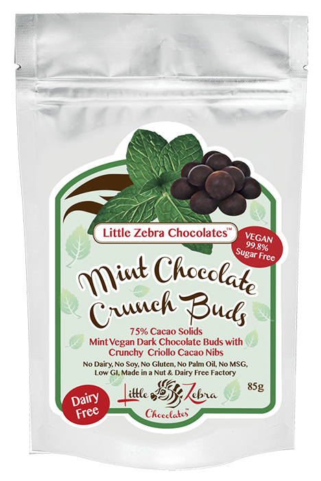 Little Zebra Chocolates Dark Chocolate Crunch Buds - Mint 85g