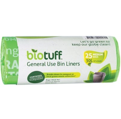 Biotuff General Use Bin Liners Medium 30L Bags x25