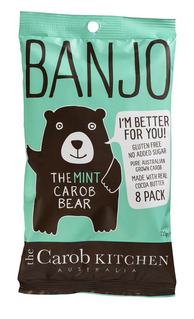 The Carob Kitchen Banjo Carob Mint Bear 8 pack 120g