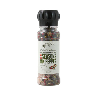 Chef's Choice Himalayan Pink Rock Salt With Four Seasons Mix Pepper With Grinder 180g