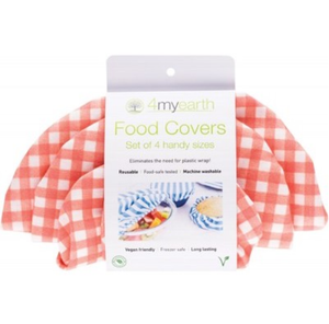 4MyEarth Food Cover Set - Red Gingham - XS, S, M & L - 4