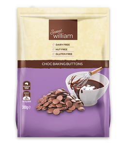 Sweet William Dairy Free Chocolate Baking Buttons 300g