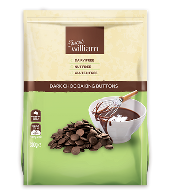 Sweet William Dairy Free Dark Chocolate Buttons 300g