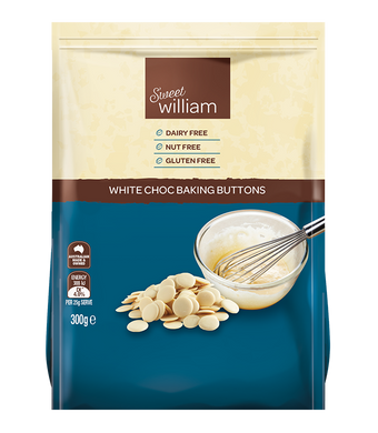 Sweet William Dairy Free White Chocolate Buttons 300g
