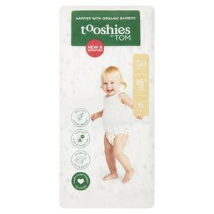 TOOSHIES BY TOM Nappies With Organic Bamboo Size 6 Junior - 16+kg 2x30