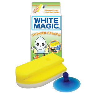 White Magic Eraser Sponge Shower w/Suction 1Pk