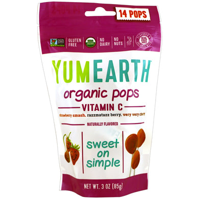 Yum Earth Organic Vitamin C Pops Lollipops 14 Pack 85g