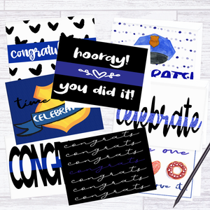 Blue Line Celebration Cards - Pack of 8