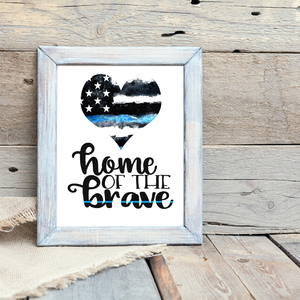 """Home of the Brave"" Patriotic Wall Art Printable"