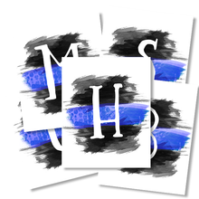 Watercolor Thin Blue Line Monogram Wall Art Printables