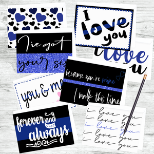 Romantic Blue Line Cards - Pack of 8