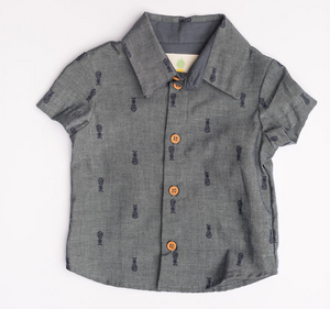 Boys Lil' Braddah Short Sleeve Woven Shirt - Pineapple Lagoon