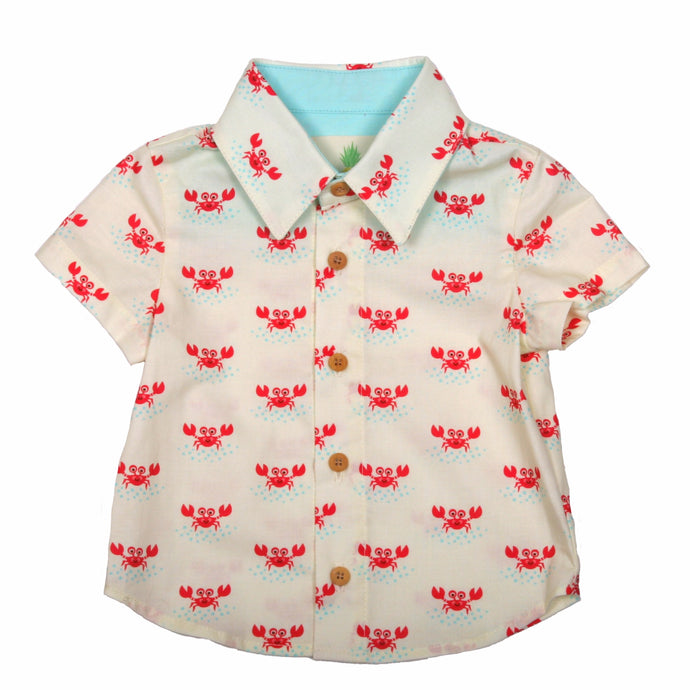 Boys Lil' Braddah Short Sleeve Woven Shirt - Mr. Crabby No Pants