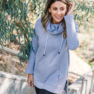 Athleisure cowl pullover in grey marle