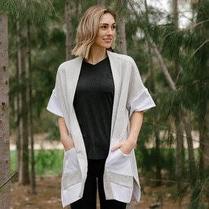 Organic cotton kimono style cardigan in grey with white accents