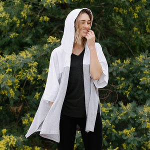 Avila sporty kimono in white and grey colour blocked.