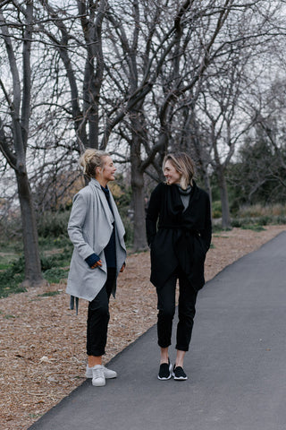 Londoner jackets in grey and black with navy and charcoal ribbed cowl neck sweaters