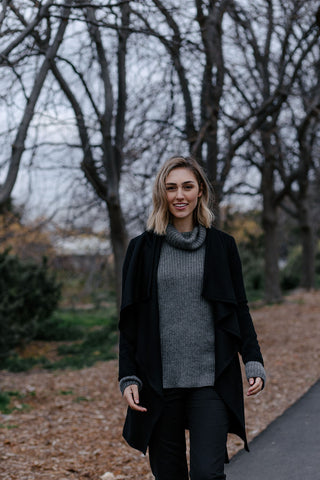 Black Londoner wool jacket and grey cowl alpaca sweater