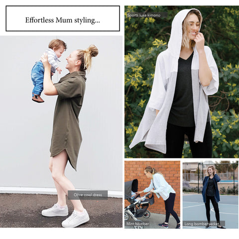 mum fashion, mum holding up a baby wearing olive pullover dress. Other image sports luxe kimono in white and grey