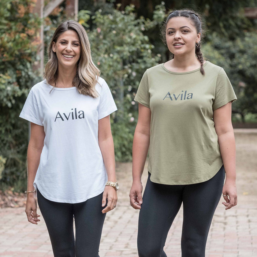 womens luxury logo tshirt in white and olive. Plus sizes available