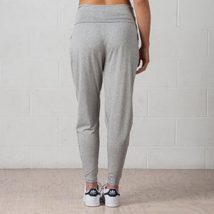 Grey drapy pants with folded waistband back