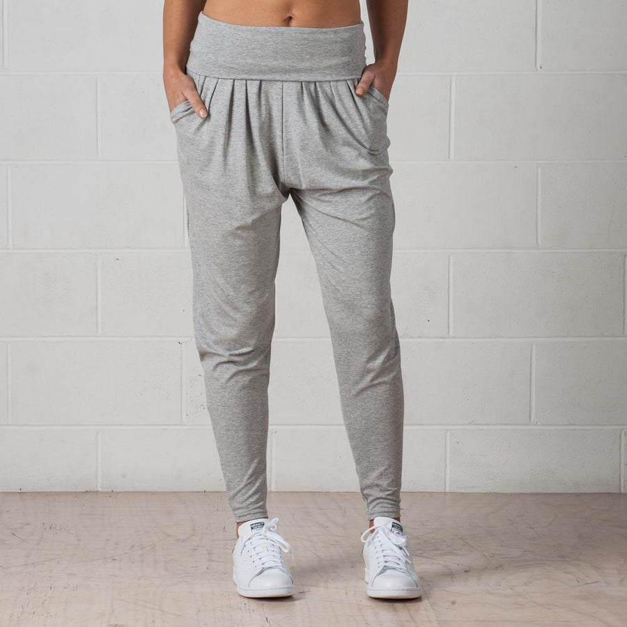 Grey drapy pants with folded waistband