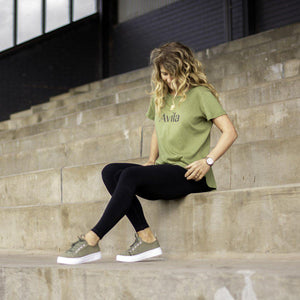 Avila logo T-shirt  in Olive made from organic cotton and modal. Made fairtrade