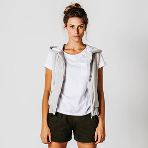 light grey marle vest with zip pockets open with white tshirt