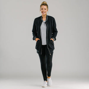 Sports luxe long bomber - BLACK Jackets Avila the label