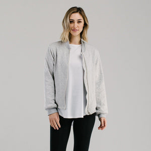 Marle grey Luxe Quilted bomber jacket made from organic cotton