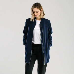 Sports luxe long bomber - NAVY Jackets Avila the label