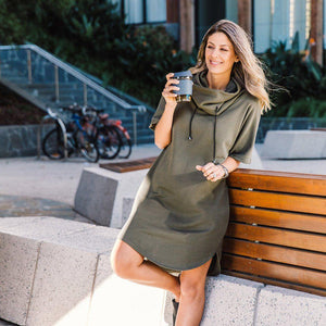 Olive cowl dress, kimono shape. Made in Melbourne from organic cotton