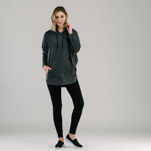 Charcoal organic cotton quilted oversized hoodie. Sportswear hoodie