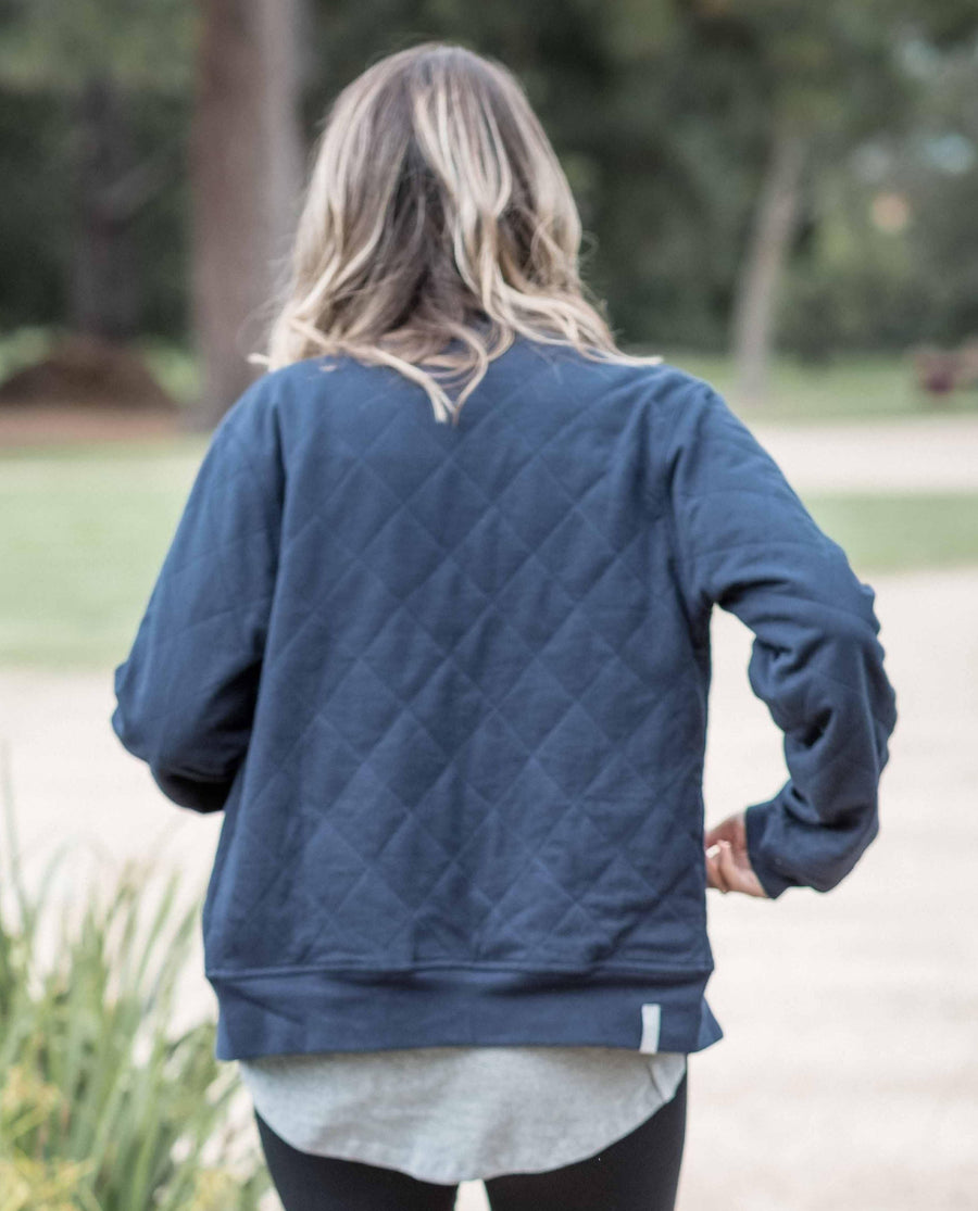 Navy Luxe Quilted bomber jacket made from organic cotton