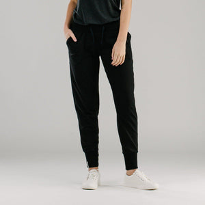 Black slouch pants with ribbed cuffs
