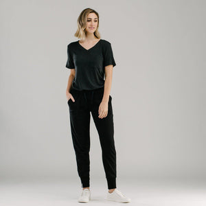 Charcoal grey v-neck tshirt and black slouch pants with ribbed cuffs