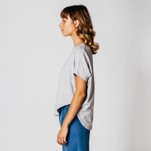 Light grey marle circular shape t-shirt side view