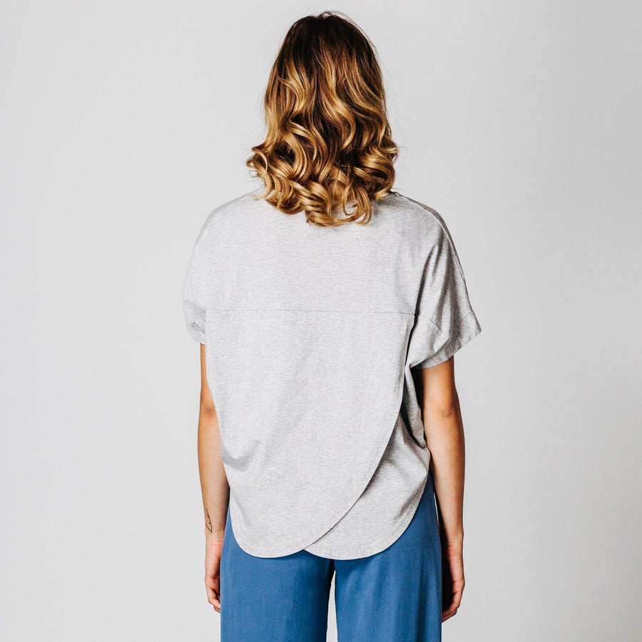 Light grey marle circular shape t-shirt
