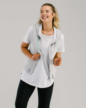 Designer active wear vest made in Melbourne from organic cotton.
